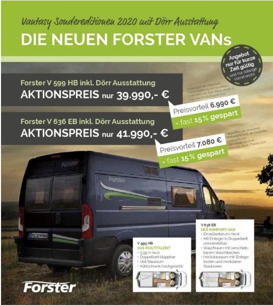 Messeangebot 2020 Forster Vans